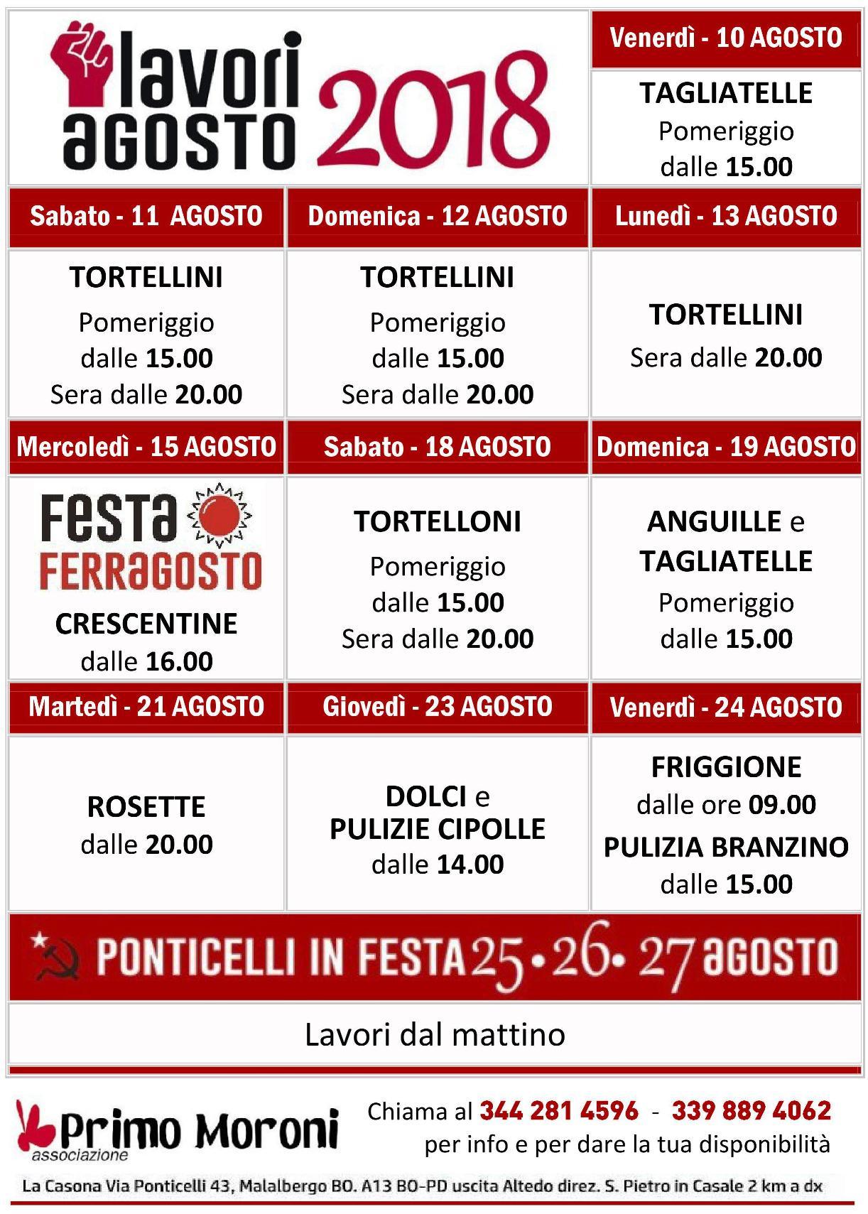 Calendario Pulizie.Calendario Lavori Festa Agosto Nuova Casa Del Popolo Di