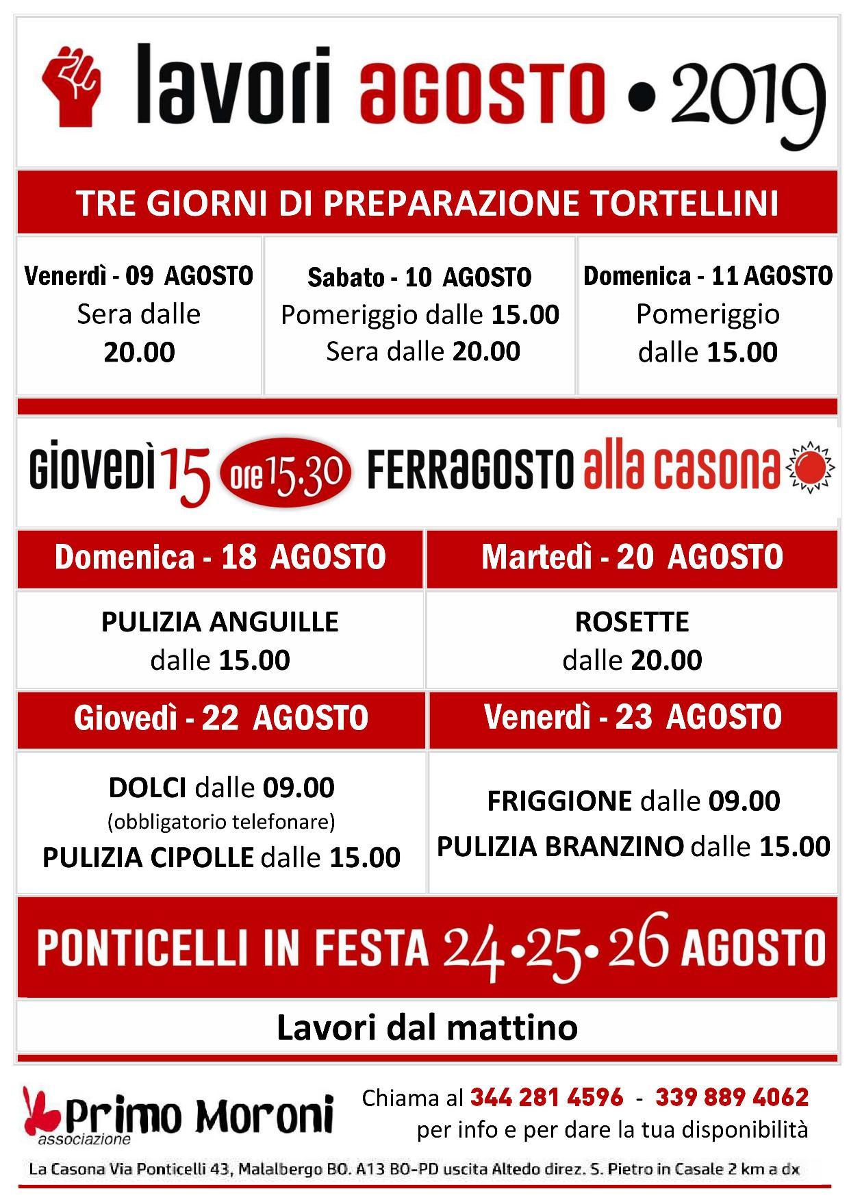 Calendario Cipolle 2019.Calendario Lavori Agosto 2019 Nuova Casa Del Popolo Di